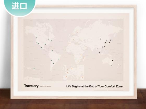 Travelege 旅行者世界地图/旅行位置标注 创意地理标记 World Map with Pin Stickers